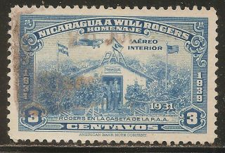 1939 Nicaragua Air Mail: Scott C238 - Will Rogers (3c - Light Blue) - photo