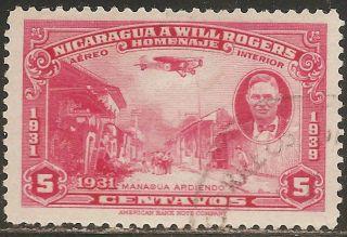 1939 Nicaragua Air Mail: Scott C240 - Will Rogers - Plane (5c - Carmine) photo
