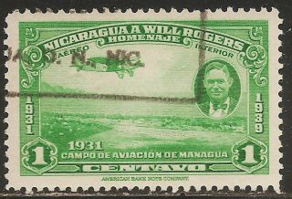1939 Nicaragua Air Mail: Scott C236 - Plane - Will Rogers (1c - Green) - photo