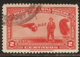 1939 Nicaragua Air Mail: Scott C237 - Will Rogers (2c - Brownish Red) - photo