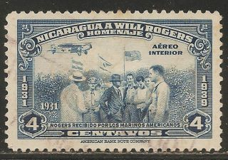 1939 Nicaragua Air Mail: Scott C239 - Will Rogers (4c - Dark Blue) - photo