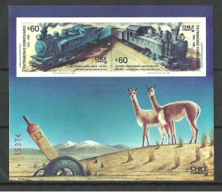 Chile 1988 Trains Railways Blue Train Wildlife Llamas M/sheet photo