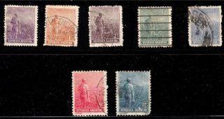 Argentina Scott 179 - 81,  184 - 5,  194 & 196 Singles 1911 - 14 Fvf photo