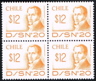 Chile 1979 D/s - 20 Stamp 954 Block Of Four Diego Portales photo