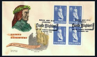 1965 Argentina Dante Alighieri 7th Centenary Of His Birth Block Of 4 Fdc Cover photo