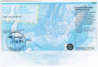 Chile 2013 - 17 Coupon Reponse International Cn1 Upu Sucursal Grecia Postmark photo