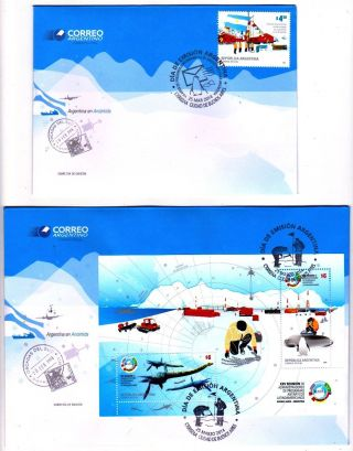 Argentina: Polar Research: Antarctic Stations,  Dinosaurs,  Birds (2014) Fdc S/sh photo