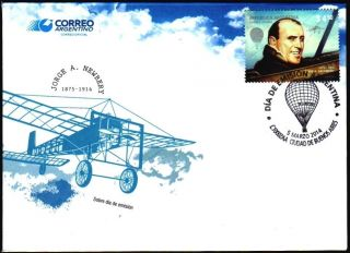 Argentina: History Of Aviation - Jorge Newbery (2014) Fdc photo