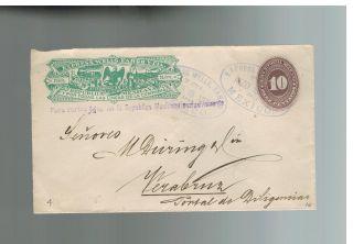 1887 Mexico Wells Fargo Express Mail Cover To Veracruz photo