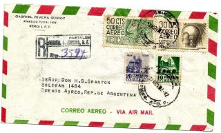 Mexico 1952 Airmail Registered Mexico Df - Bs Aires:nice Postage & Sealing Label photo