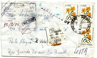 Salta February 5th1984 Registered Inflation - Brazil Postage Returned Sender photo
