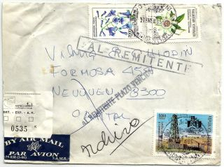 Rosario1983 Registered Inflation Rate Flowers & Oil Returned - Sender Airmail photo