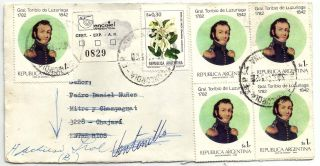 Concordia Registered To ChajarÍ 1983 Inflation Rate Postage Flowers Returned photo