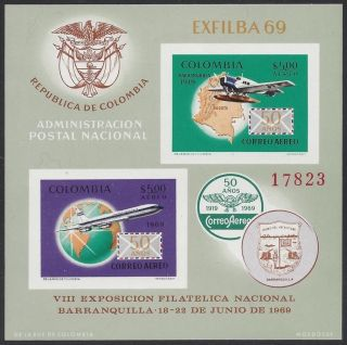 Colombia 1969 Exfilba S/s Sc C516 Nh photo