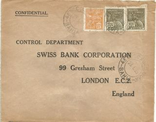 Brazil 1935 Bahia To London Uk.  Confidential Bank Cover.  Postage photo