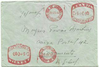 Brazil 1944 Rio De Janeiro To Livramento Postage 2x Meter Mark.  Unusual photo