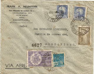Brazil1938 Airmail Registered Rio De Janeir - Montevideo Postage photo