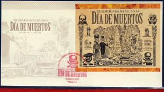 13 - 26fd Mexico 2013 Day Of Dead,  Mexican Traditions,  Folklore,  Fdc photo