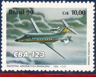 2257 Brazil 1990 Airplane Cba 123,  Plane,  Aviation,  Mi 2371, photo