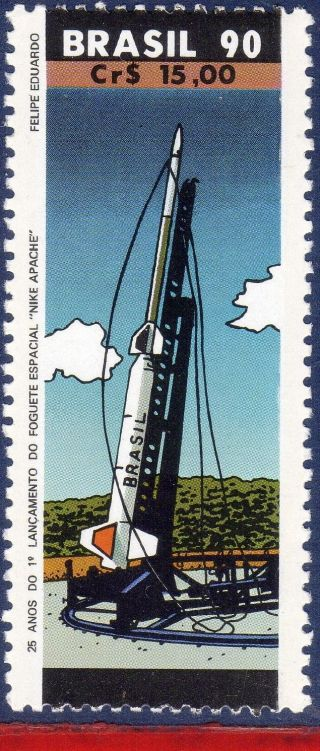 2295 Brazil 1990 Launch Of Rocket Nike Apache,  Space Exploration,  Mi 2393, photo
