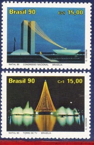 2292 - 93 Brazil 1990 Christmas,  Architecture Of Brasilia,  Lights,  Mi 2390 - 91, photo