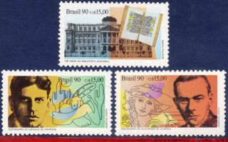 2288 - 90 Brazil 1990 Literature,  Library,  Famous People,  Writers,  Mi 2383 - 85, photo