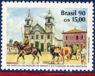 2296 Brazil 1990 Colonization Of Sergipe,  Church,  Horse,  Ox,  Mi 2394, photo