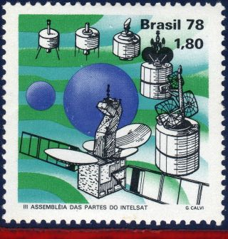 1576 Brazil 1978 - Intelsat Satelite,  Space & Exploration,  Mi 1670, photo