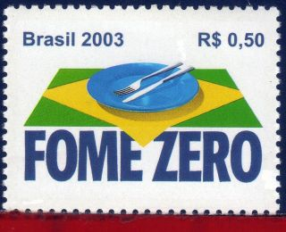 2898 Brazil 2003 Zero Hunger,  Health,  Food,  Flags,  Sc 2898,  Mi 3328 photo