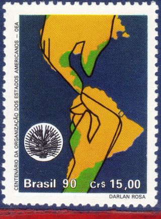 2294 Brazil 1990 Organization Of American States,  Oas,  Oea,  Maps,  Mi 2392, photo