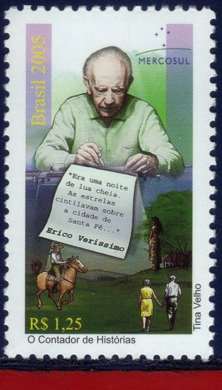 2961 Brazil 2005 - Erico Verissimo,  Writer,  Horses,  Famous People,  Sc 2961, photo