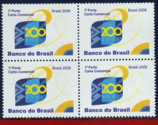 8 - 7q Brazil 2008 - Bank Of Brazil,  200 Years,  History,  Block photo