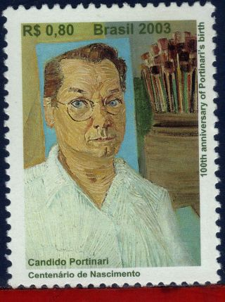 2892 Brazil 2003 Candido Portinari,  200th.  Anniv. ,  Painting,  Self Portrait,  Art photo