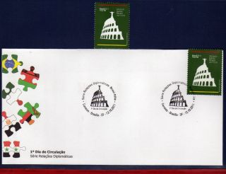 11 - 28fd Brazil 2011 With Italy,  Monuments,  Coliseum,  Redeemer - Stamp And Fdc photo