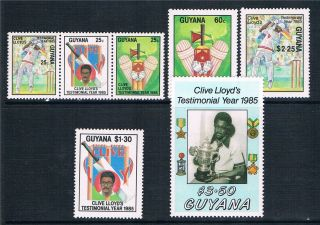 Guyana 1985 Clive Lloyd Testimonial Year Sg 1636/42 photo