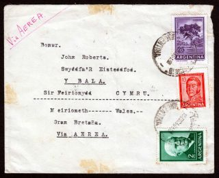 1966 Argentina 37 Pesos Airmail Rate To Wales,  Great Britain photo