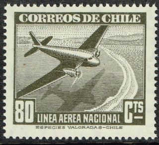 Chile 1946 Air Mail Stamp 388 Wmk 1 Aircraft photo