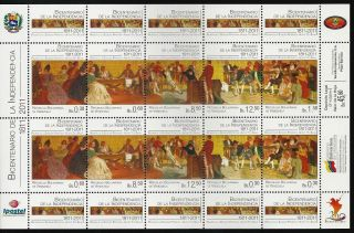 Venezuela 2011 - 1811 Bicentennial Of Independence - Sheet Of 10 photo