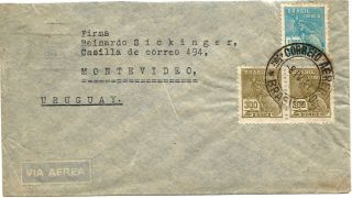 Brazil1941 Airmail Rio De Janeir - Montevideo Postage photo