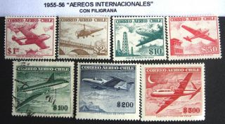 Chile: 1955 - 56.  Aereos Internacionale Lan,  Con Filigrana.  Uvf photo