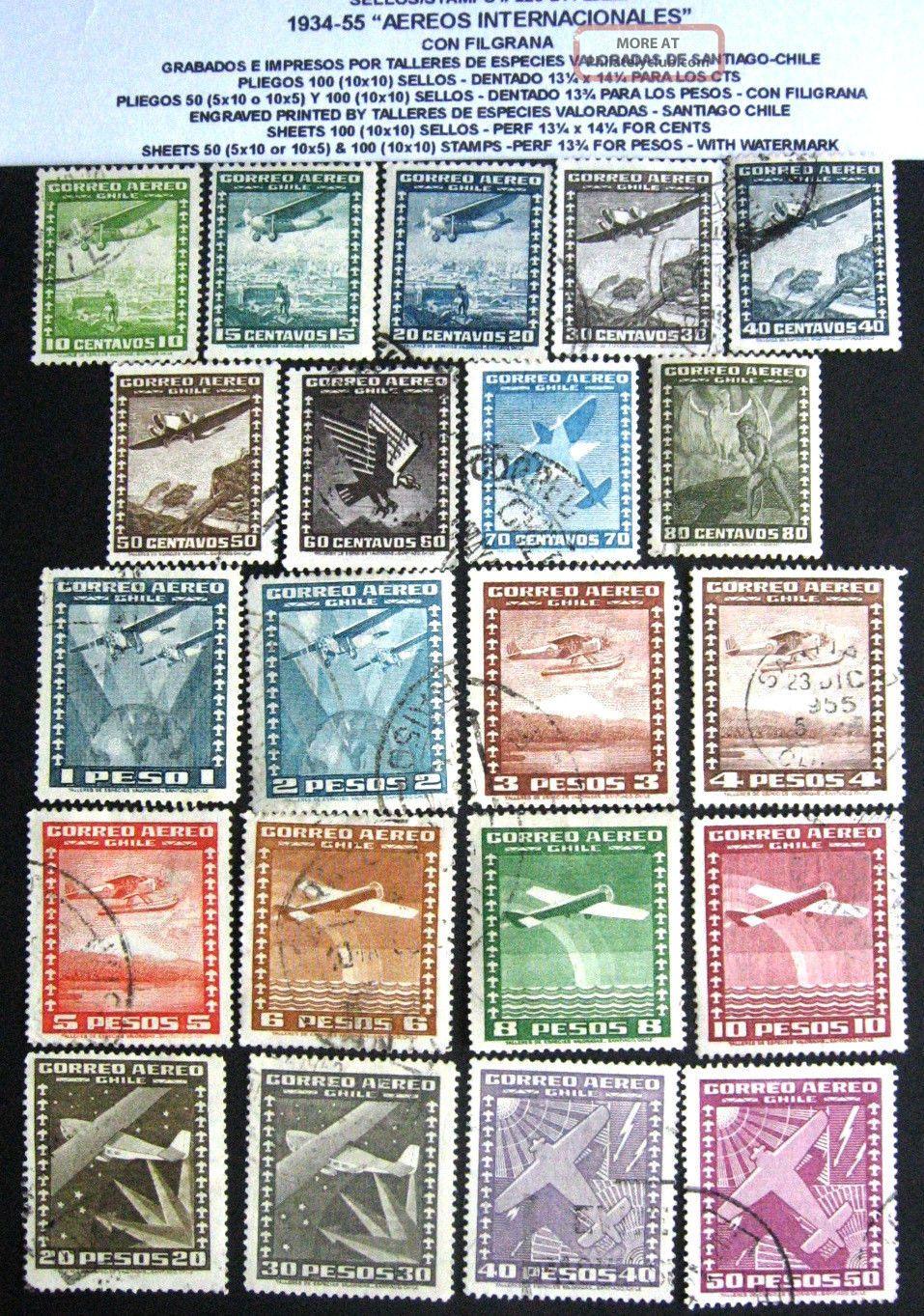 Chile:1934 - 55 Serie Completa Lan Con Filigrana Uvf Latin America photo