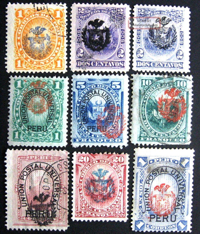 Chile:1881: 9 Sellos Peruanos Con Sobrecarga Del Escudo De Chile.  Uvf Latin America photo