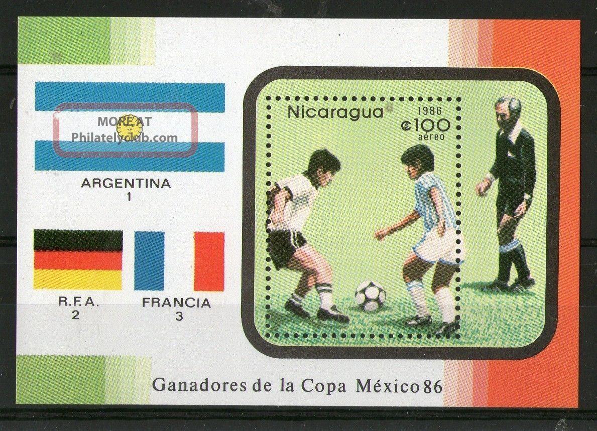 Nicaragua 1986 Mexico Football World Cup Miniature Sheet Latin America photo