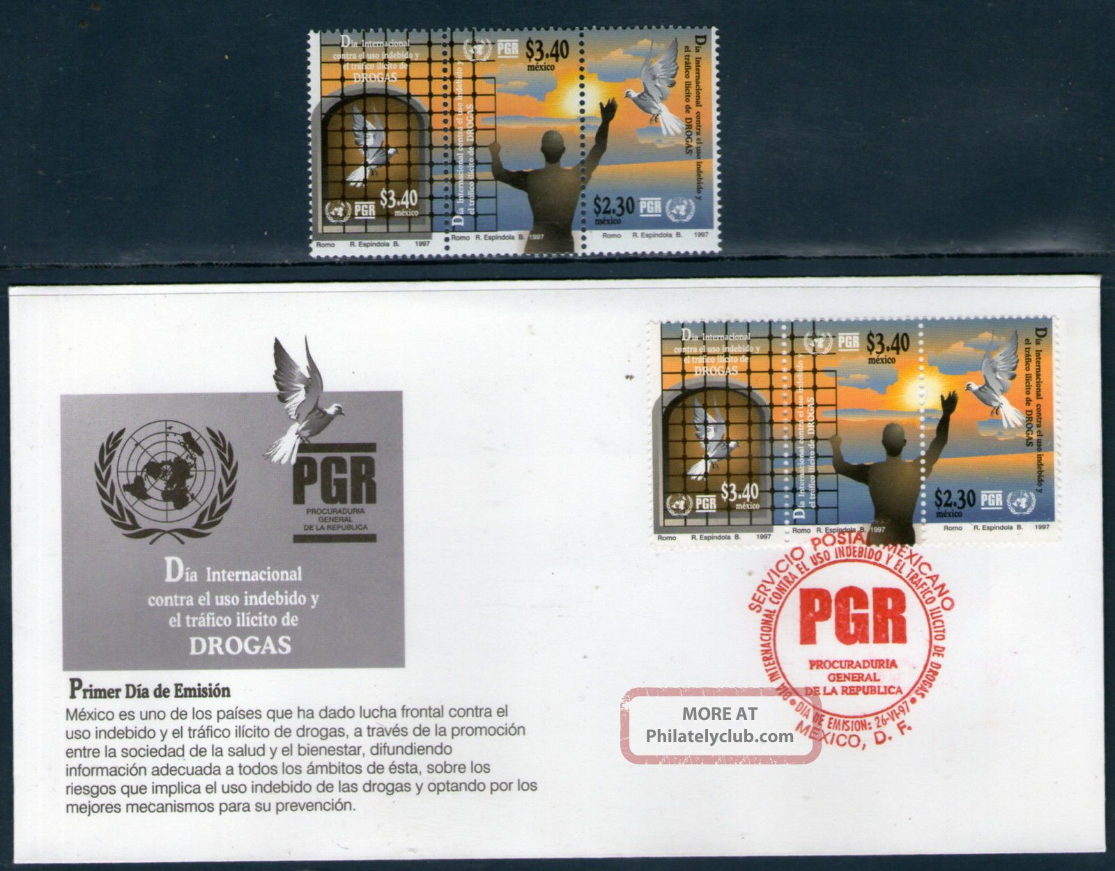 2037fd Mexico 1997 - Day Against Illegal Drugs,  Anti Drugs,  Health,  Dove,  Sc 2037 Latin America photo