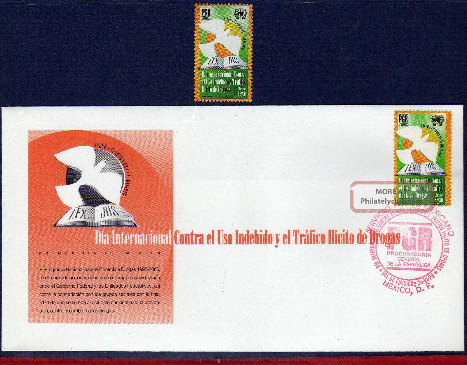 2081fd Mexico 1998 - Day Against Illegal Drugs,  Anti Drugs,  Health,  Mi 2701 Latin America photo