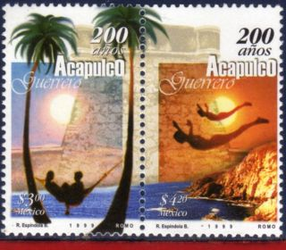 2115 - 16 Mexico 1999 - Acapulco,  200th Anniv. ,  Cities,  Nature,  Mi 2767 - 68 photo