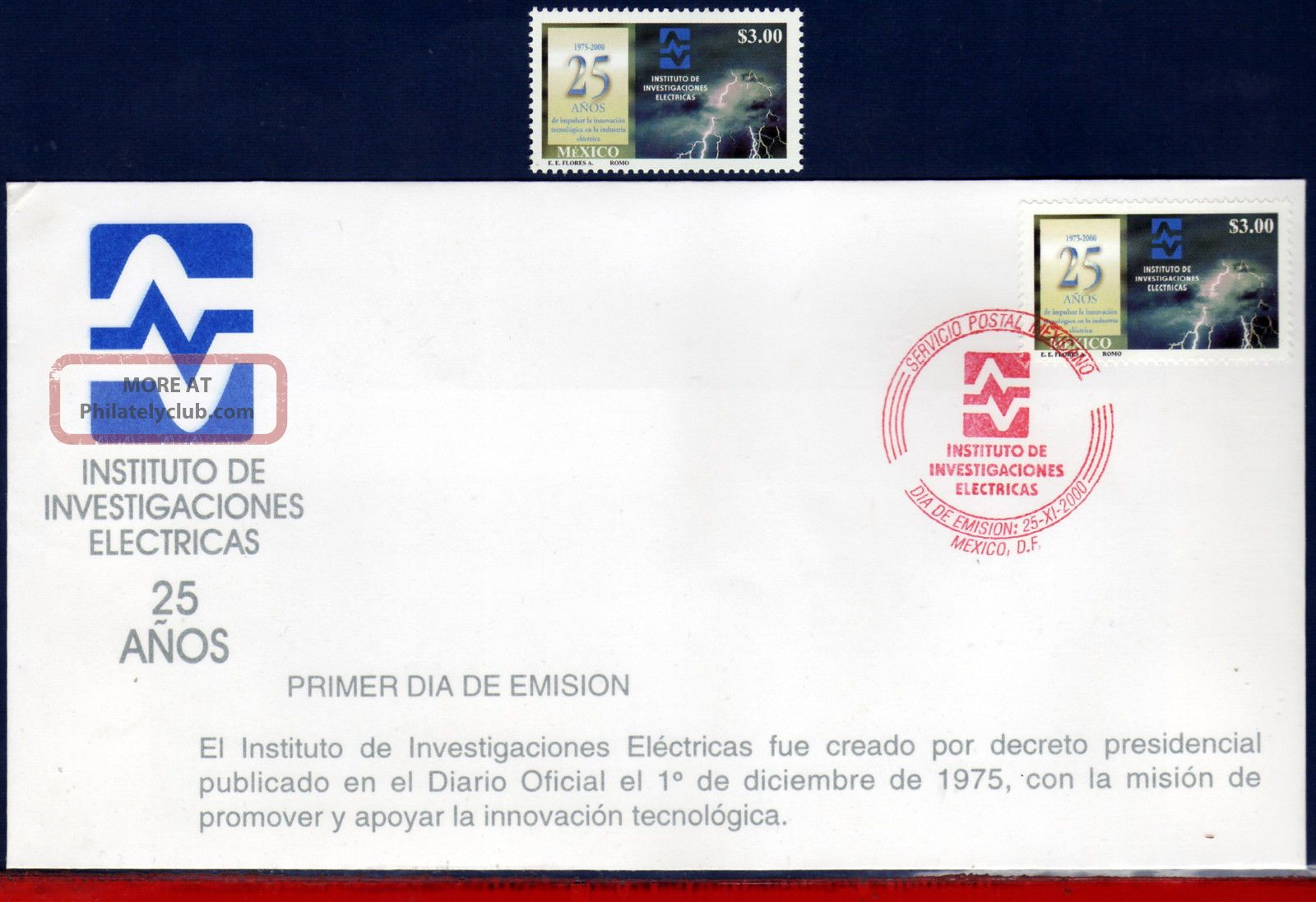 2214fd Mexico 2000 - Electrical Investigation Institute,  Electricity,  Mi 2885 Latin America photo