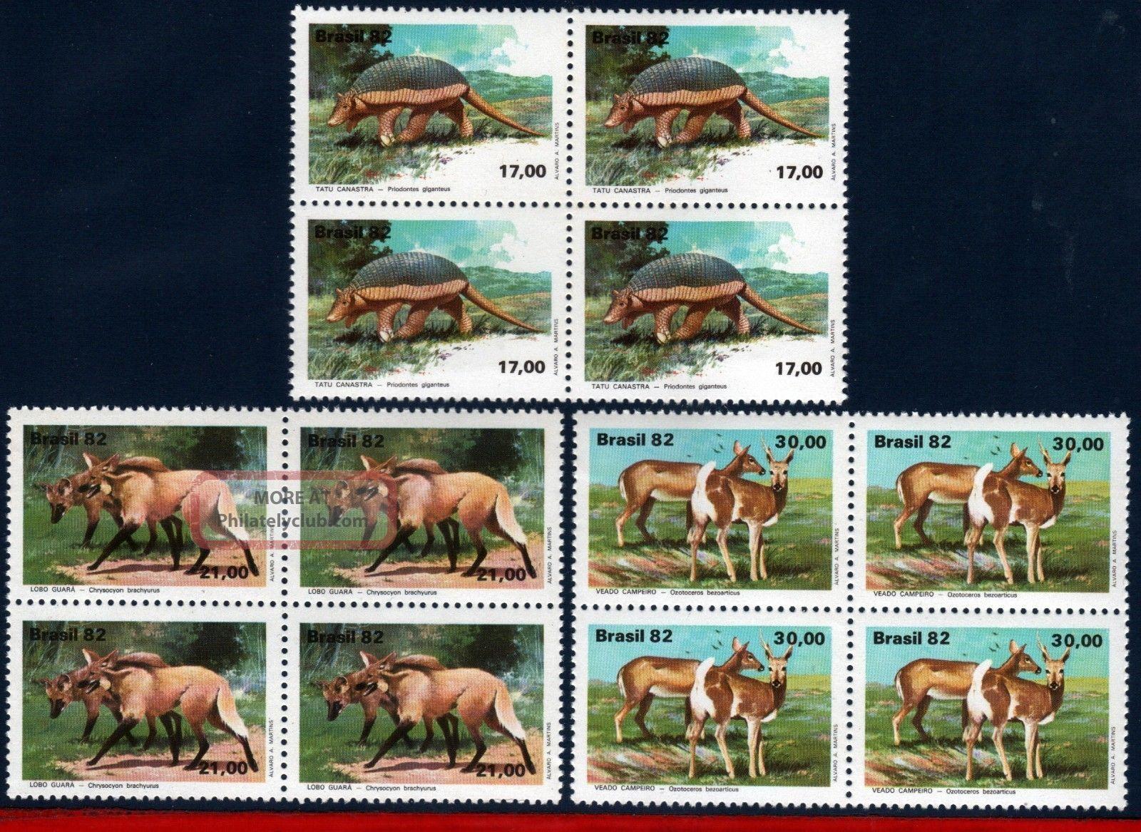 1801 - 03q Brazil 1982 Brazilian Fauna,  Armadillo,  Wolves And Deer,  Block Latin America photo