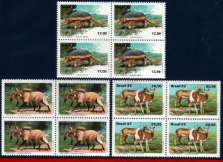 1801 - 03q Brazil 1982 Brazilian Fauna,  Armadillo,  Wolves And Deer,  Block photo