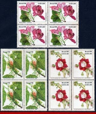 2083 - 85q Brazil 1986 Prevention Of Flora,  Flowers,  Flowering Plants,  Block photo